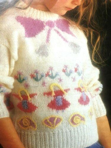 "132 GIRLS 2-10 YRS  NURSERY RHYME  JUMPER  DK Knitting Pattern  22-30/"""