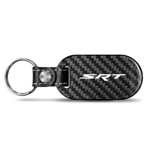 SRT Logo 100/% Real Carbon Fiber 3 mm Thick Tag Style Key Chain for Dodge Jeep