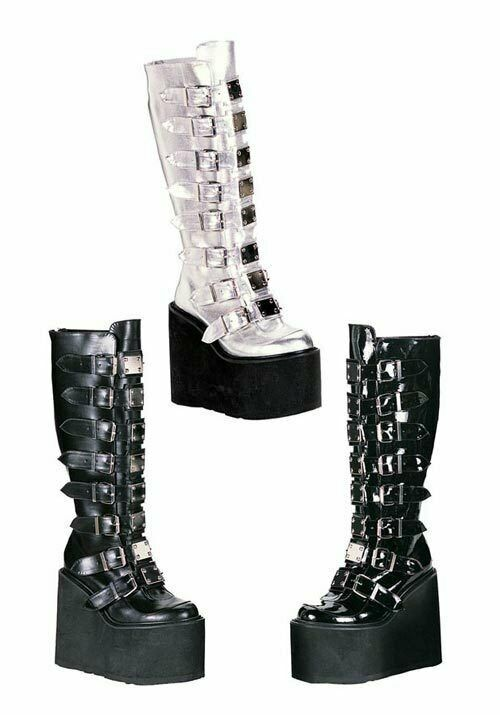Demonia 5 1 2 Inch Platform Buckled Knee Boot With Metal Plate Accented Straps