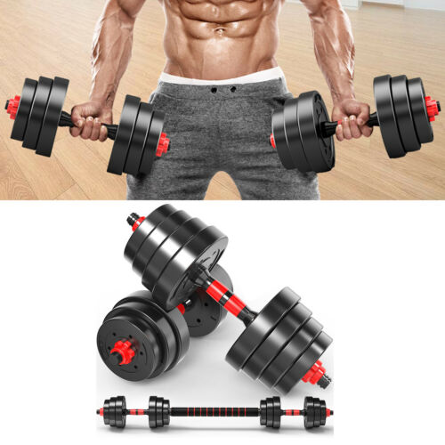 Adjustable Dumbbell Set Barbell Weights Fitness Biceps Triceps Exercise 20KG A
