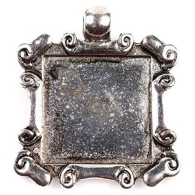 35x 146331 Silver Tone Vintage Cabochon Setting Square Charms Alloy Pendants