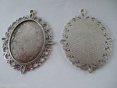 10 Antique Silver Plated 30x40mm Oval Blank Tray Pendant Bezel/Cabochon Settings