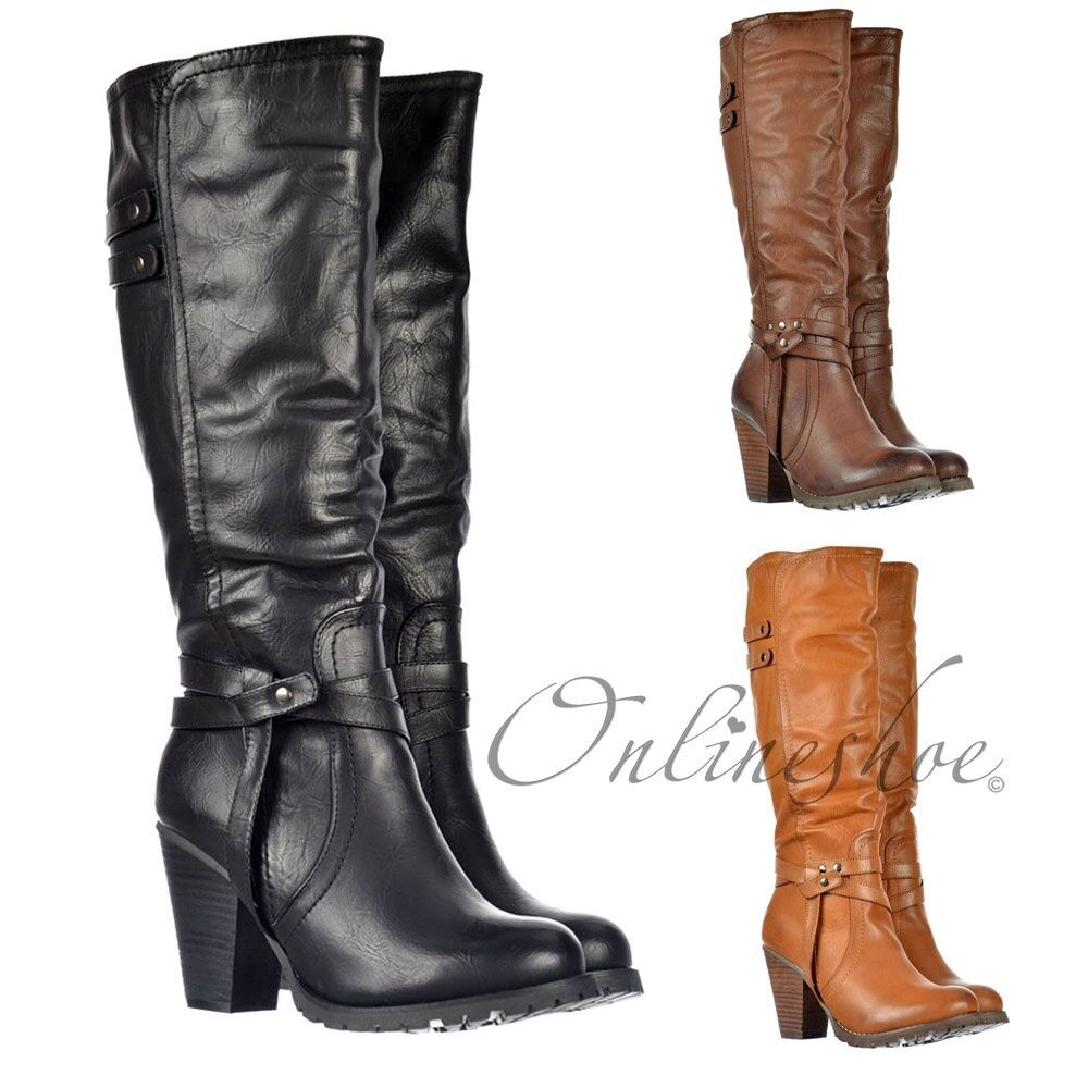 women BOTTE MOTARD HAUTEUR GENOU TALON HAUT BLOC CLOUS black brown NATUREL