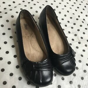 bass womens black leather ballets flats casual round toe