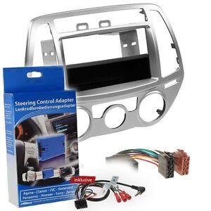 Hyundai-I20-12-14-1-DIN-Radio-Set-Silver-Steering-Wheel-Remote-Control-Adapter