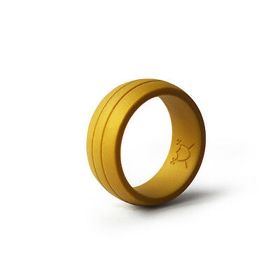 Double-Debossed Flexible Silicone Wedding Band Ring - Gold