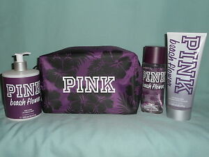 81b8444c30c58 Details about Victoria's Secret PINK Beach Flower Mist, 2 in 1 Wash, Body  Lotion & Makeup Bag