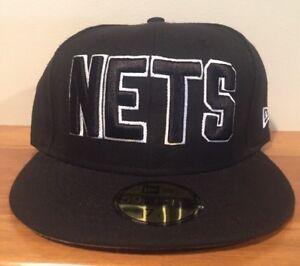 purchase cheap 77e7b 722bc Image is loading New-Jersey-Nets-New-Era-NBA-HWC-Black-