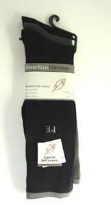 3-Pairs-PERRY-ELLIS-Soft-Luxury-Rayon-Black-Dress-Socks-Mens-Size-10-13-NEW-NWT