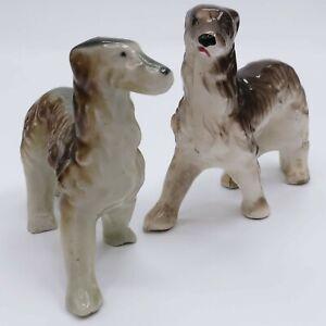 Vintage 1950's Russian Wolfhound Borzoi Porcelain 2 Dog Figurines, Japan