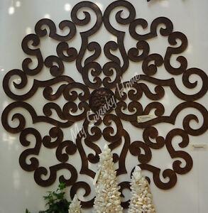 "Iron Scroll Wall Art xl brown 50"" iron scroll wall medallion neiman marcus grille art"
