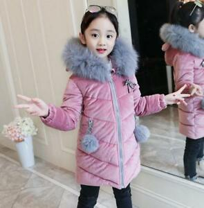Kids Girls Winter Fur Collar Hooded Thick Cotton Padded Coats Child Warm Outwear