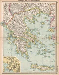 Greece aegean ionian islands crete inset athens bartholomew image is loading greece aegean amp ionian islands crete inset athens gumiabroncs Gallery