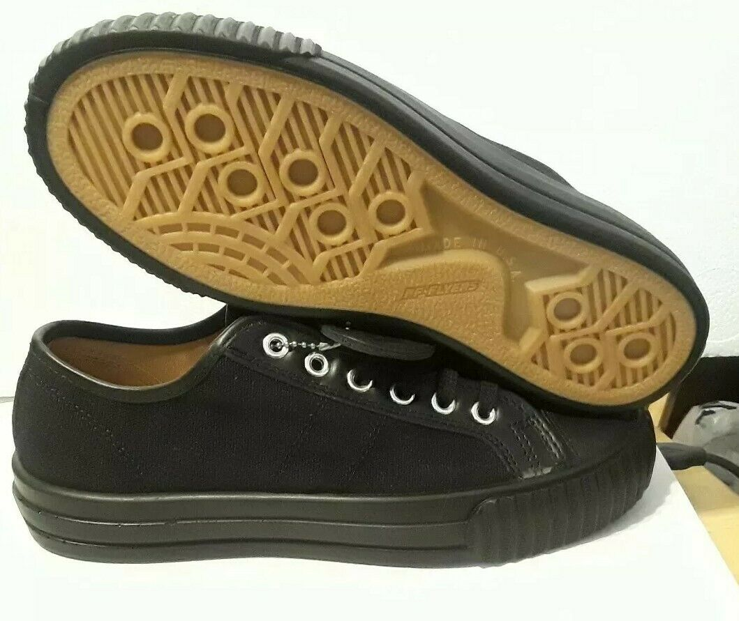 PF FLYERS MEN'S MADE IN USA CENTER LO BLACK CANVAS PM18UL1A SNEAKERS SIZE  6.5