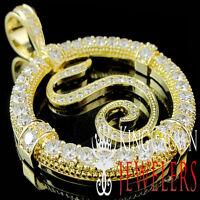 Mens 14k Yellow Gold Finish Lab Diamond Alphabet Initials Letter S Pendant Charm