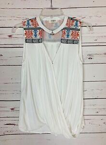 UMGEE-USA-Boutique-Women-039-s-S-Small-White-Sleeveless-Boho-Summer-Tank-Top-Blouse