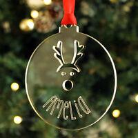 Personalised Name Reindeer Christmas Tree Decoration Keepsake Xmas Bauble Gift