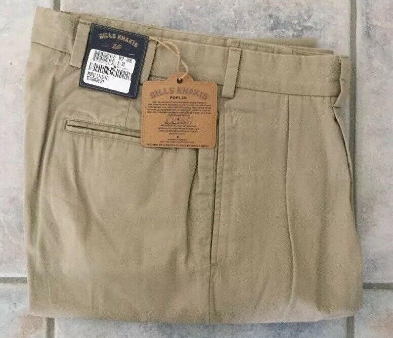 BRAND NEW-Bills khakis M2P-KPBL Size 44 STANDARD FIT PLEATED POPLIN KHAKI