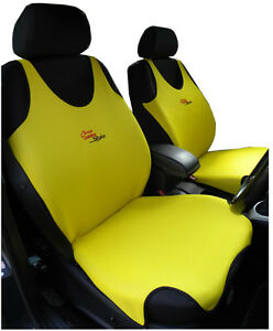 2 YELLOW FRONT VEST CAR SEAT COVERS PROTECTORS FOR PEUGEOT 107 | eBay