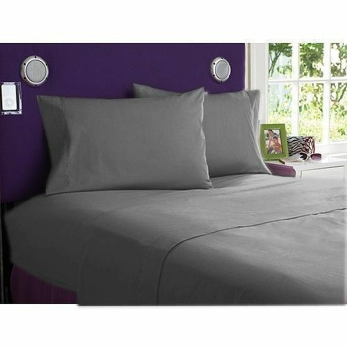 1000TC Egyptian Cotton Bedding Items Elephant Grey Solid Striped US Sizes.