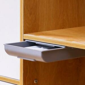 Hidden Table Under Paste Desk Organizer Pen Brush Storage Drawer Plastic O7X8