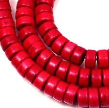 """6mm Turquoise Heishi Rondelle Beads 16""""  - Red"""