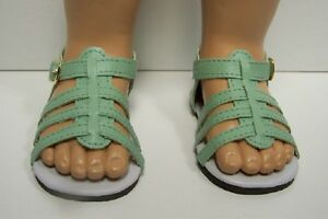 """Debs LIME GREEN Strappy Sandals w//BUCKLES Doll Shoes For 18/"""" American Girl"""