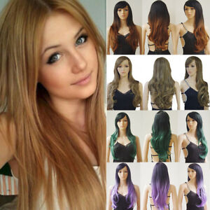 Long Straight Hair Full Wig Women Highlight Blonde Party Wigs Heat ... 74bbf48032e8