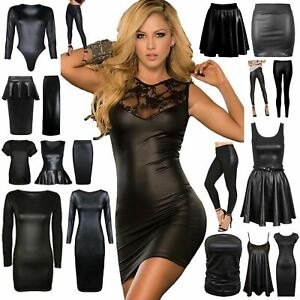 df19c033e5a648 Ladies Wetlook Mini Midi Dress Womens Wet Look Skirt Skater Dress ...