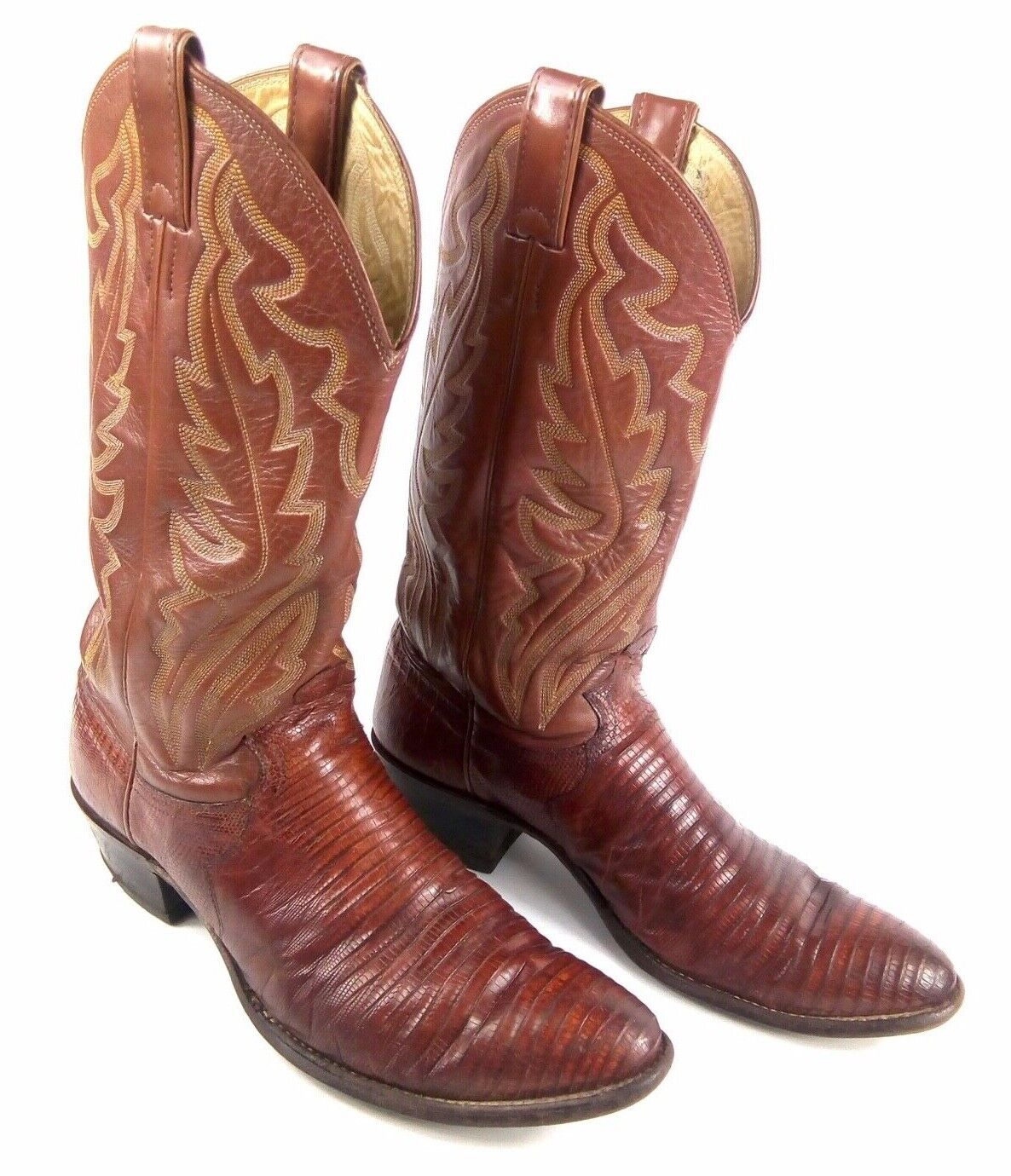 JUSTIN Men Brown 9.5B Peanut Brittle Lizard Skin Leather Cowboy Boots