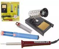 30W Watt Soldering Iron Kit Stand Sponge Desolder Pump Solder Wire Magnifier New