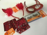 Halloween Devil Claires 4 Piece Accessory Set Eyelash Set Headband Mask