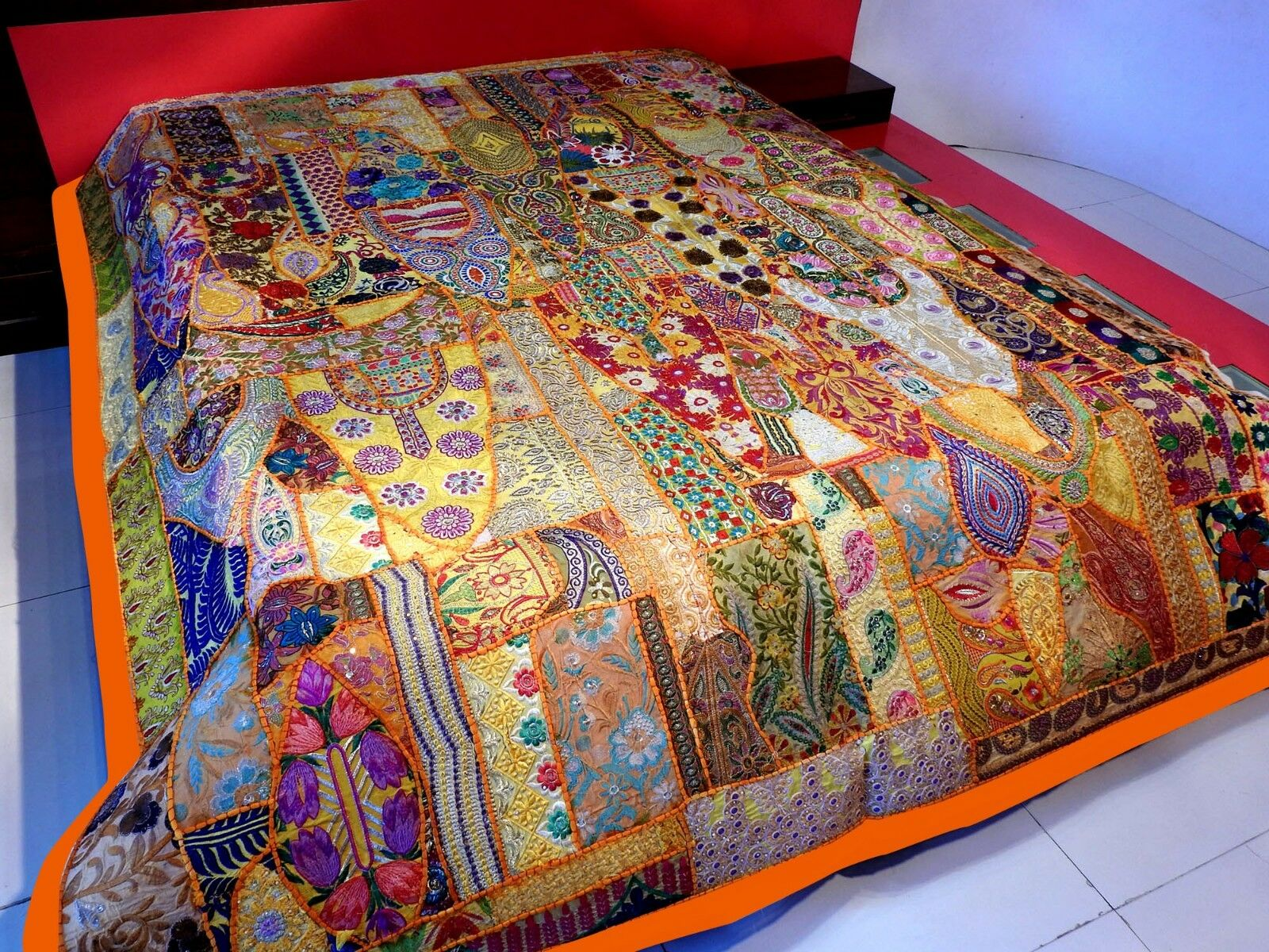 Vintage Patchwork Bedspread Hand Embroidery Bed Cover, Wall Hanging Curtain BS69