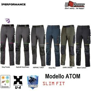 Pantaloni da lavoro U-Power ATOM U-4 stretch elasticizzati e multitasche