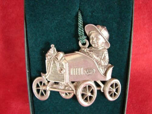 1994 Pewter Port Fire Chief Pewter Christmas Ornament Boy in Fire Wagon