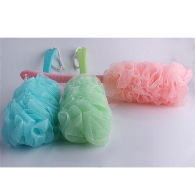 Pop  High Quality Long Handle Bath Brush Soft Mesh Sponge Back Scrubber KQ