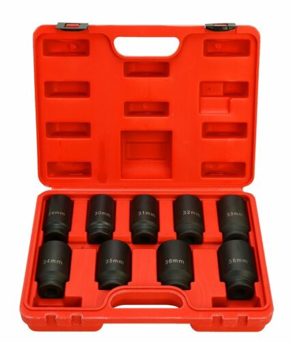 Inch Drive Deep Impact Socket Set Metric Axle Hub Nut Socket 29-38mm 9pcs 1//2