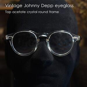 8eac8a8940 Image is loading Round-vintage-crystal-eyeglasses-Johnny-Depp-artist-mens-