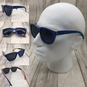 Men's 2020 Handcrafted Blue Skate Wood Frame Grey TAC Polarized Sunglasses