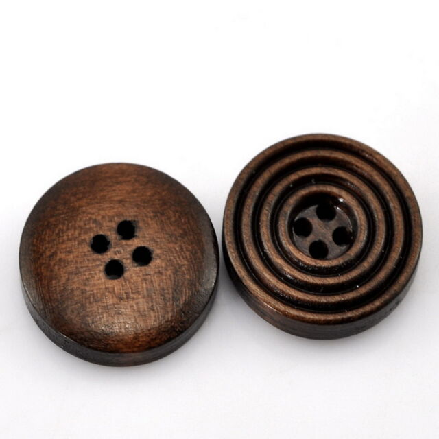 """25PCs Dark Coffee 4 Holes Round Wood Sewing Buttons 20mm(6/8"""") Dia."""