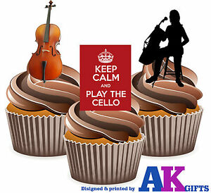 Keep Calm Cello Mix 12 Edible Stand Up Cup Cake Toppers Birthday