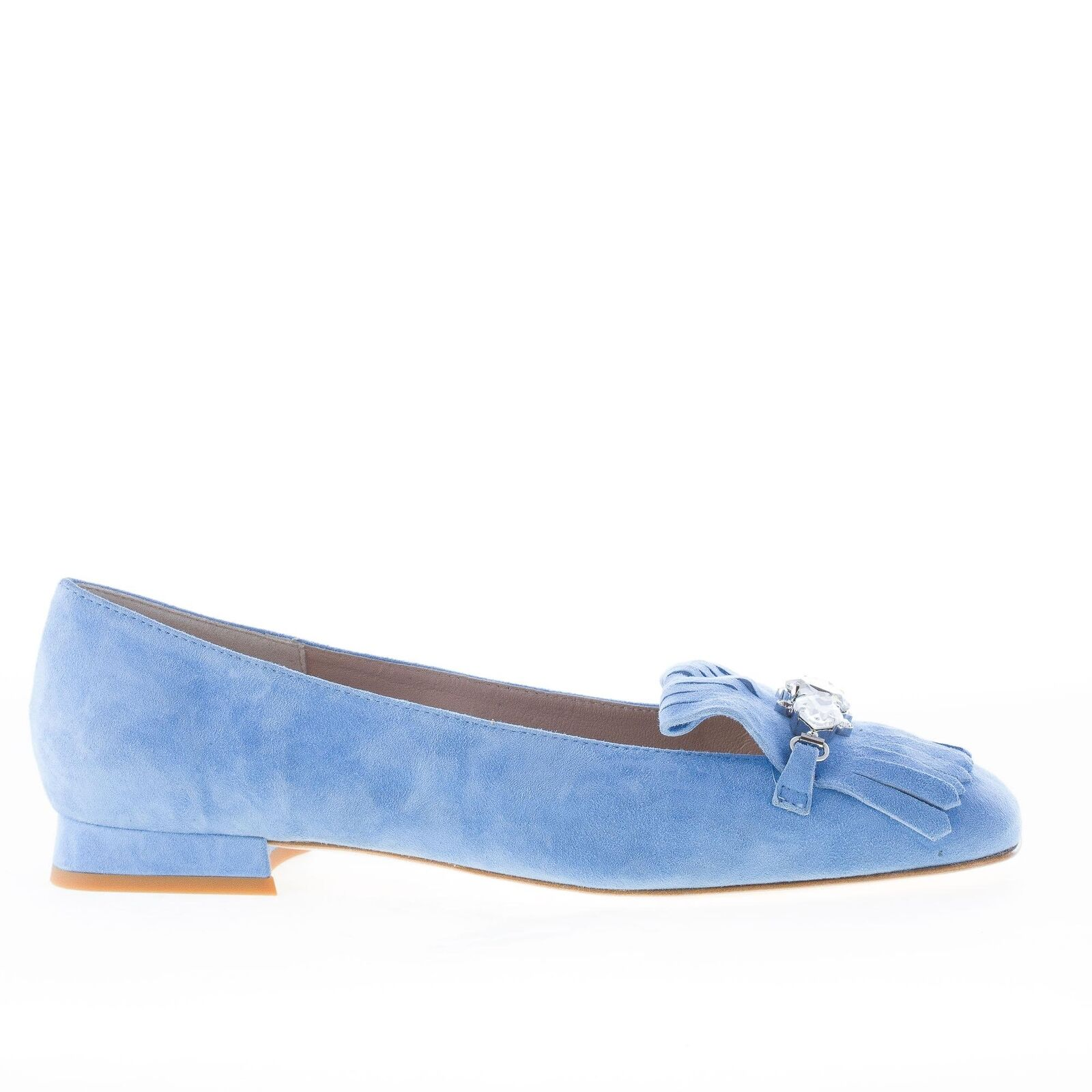 IL BORGO FIRENZE damen schuhe damen schuhe Blau sky suede loafer fringe and jewel
