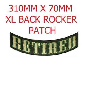 """RETIRED White on Back Patch Bottom Rocker for Biker Veteran Vest Jacket 10/"""""""