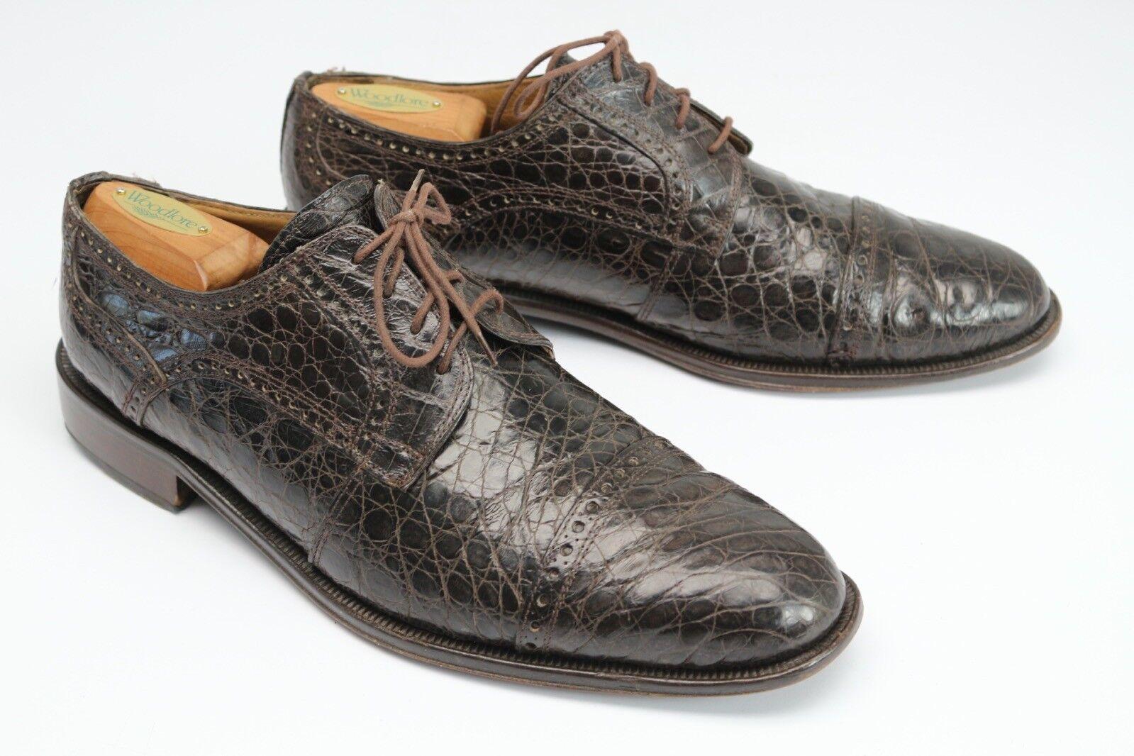 David Eden Brush Genuine Crocodile Cap Toe Dress shoes 10.5 Brown Semi Brogue