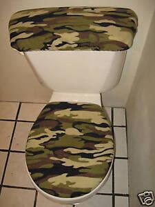 Army Green Camo Fleece Toilet Seat Cover Set Ebay