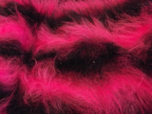 LONG Pile Fun Faux Fur Fabric Material CERISEBLACK STRIPE