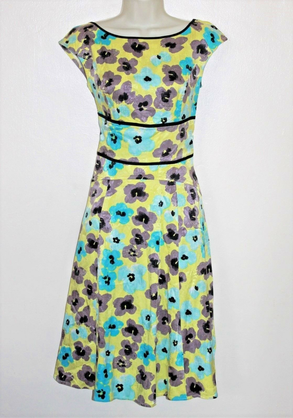 ESHAKTI  Size MEDIUM (10)  Sleeveless Cotton Fit & Flare Flower Print Dress