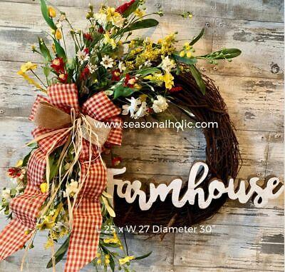 Handmade Farmhouse Front Door Wreath Yellow White Red 30 Diameter Ebay