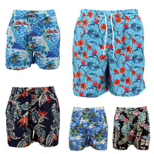Men-039-s-Cotton-Hawaiian-Shorts-Floral-Beach-Board-Surf-Swim-Cascual-Pants-Summer