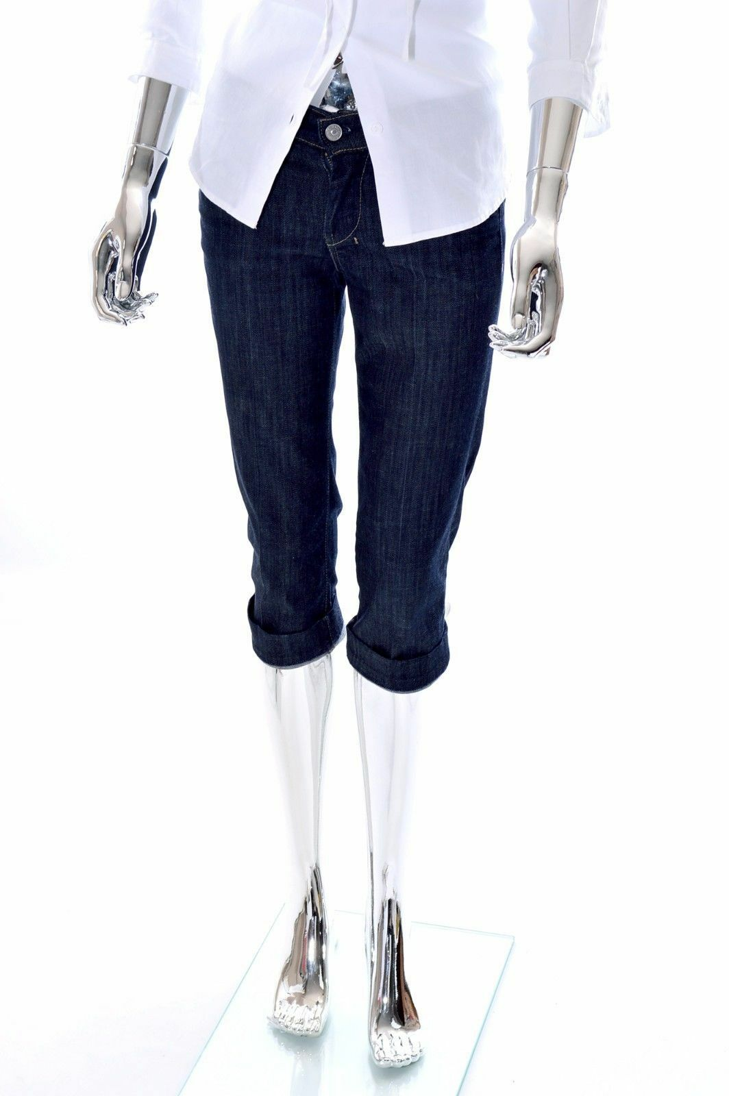 189 NEW 7 For All Mankind Dojo Womens Designer Stretch Crop 3 4 Jeans Size 25